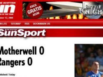 Si radeau de Steaua :) Adversara Unirii in Liga, Rangers a facut 0-0 la Motherwell
