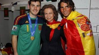 Cum s-au bucurat spaniolii in vestiar alaturi de Regina Sofia si Nadal! FOTO