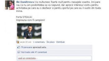 Ilie Dumitrescu, prietenul stelistilor pe facebook: Vezi ce mesaj le-a transmis!