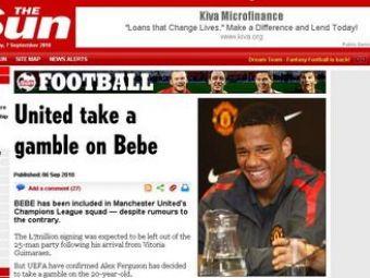 """""""Aurolacul"""" Bebe a fost trecut pe lista lui United pentru UCL!"""