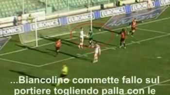 VIDEO Faza SCANDALOASA in Italia! I-a furat mingea portarului cu MANA si a dat gol! Arbitrul n-a vazut :)