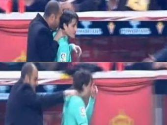 VIDEO: Modul ciudat in care Guardiola a sarbatorit golul lui David Villa :)