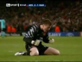 VIDEO / Nici lor nu le-a venit sa creada! Vezi bucuria NEBUNA a portarului lui Arsenal dupa golul lui Arshavin: