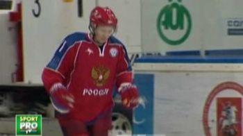 Putin a facut o demonstratie de tehnica pe gheata: a facut show la un meci de hochei!