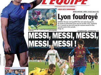 L'Equipe ignora cea mai mare UMILINTA din istoria fotbalului francez! Prima pagina e cu Messi x 5! Seara in care U Craiova a fost razbunata