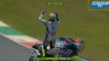 Un motociclist s-a bucurat de victorie inainte sa treaca de finish! N-ai sa crezi pe ce loc a terminat VIDEO NEBUN