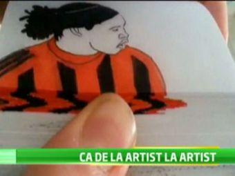 El poate castiga fara probleme orice concurs de TALENTE! Un brazilian a facut un desen INCREDIBIL cu Ronaldinho! Nu ai vazut NICIODATA asa ceva:
