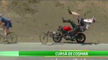 Accident horror: un ciclist a zburat de pe bicicleta din cauza unui motociclist in viteza maxima! Ce s-a intamplat