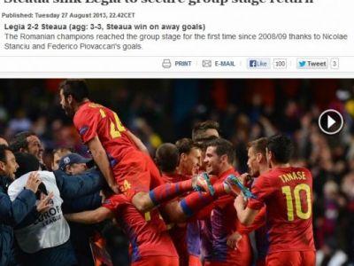 "Steaua, ELOGIATA de UEFA: ""Romanii au SCUFUNDAT Legia la ea acasa"" Strainii se inclina in fata CAMPIOANEI:"