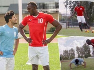 """Transfer de senzatie! Manchester City l-a transferat pe Bolt pentru o zi! Aguero a ramas impresionat: """"Poate sa joace la United"""" VIDEO"""
