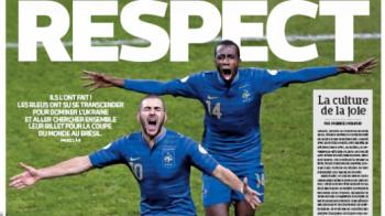 Discul de Platini pentru inca un Blatter reusit se acorda... Frantei! Ofsaid cat 'la maison', L'Equipe titreaza, paradoxal, 'RESPECT' pe prima pagina!