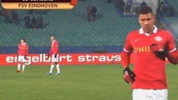 """Gafa serii in Europa League a fost facuta de un bulgar dezorientat :)) Ce s-a vazut pe grafica televiziunii care a produs meciul lui PSV: """"Rosu pentru Cutarescu'"""""""
