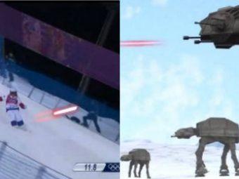 Forta nu e cu ei! Sportivii de la Jocurile Olimpice de Iarna, sabotati de robotii din Star Wars! SUPER VIDEO :)