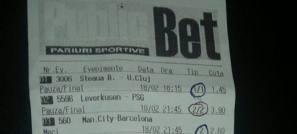 2 lei jucati si o cota uriasa! Steaua, Barcelona si Atletico i-au adus un castig important! Biletul saptamanii jucat de un roman: FOTO