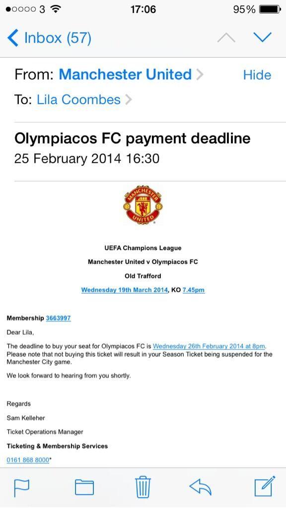 Un fan al lui Manchester United a primit acest avertisment din partea clubului.