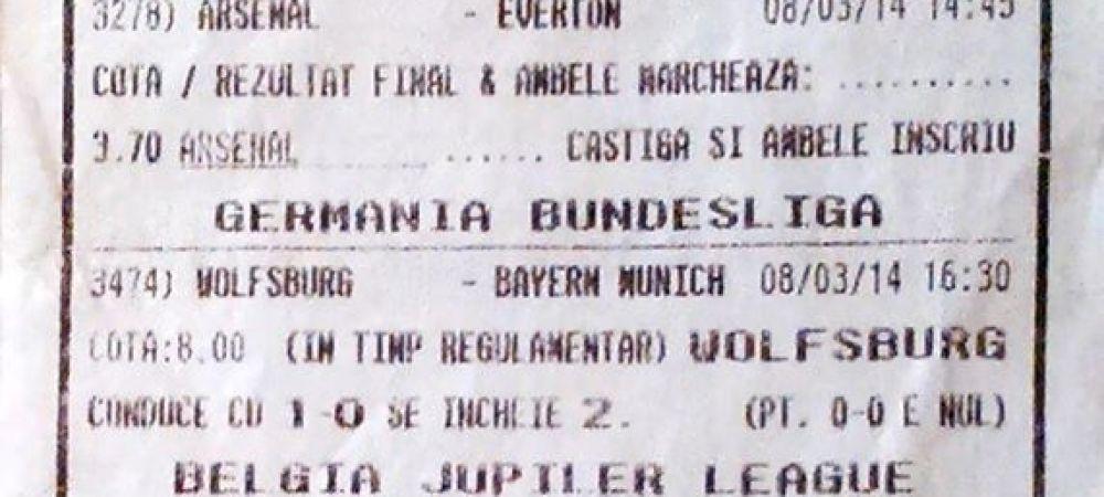 Lovitura formidabila data de un bucurestean la pariuri! A castigat 7000 de EURO cu doar 5 RON jucati! FOTO: cum arata biletul