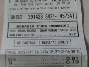 Cota imensa pentru scor corect! Un roman a nimerit rezultatul la derby-ul Steaua - Dinamo! Cat a castigat: FOTO