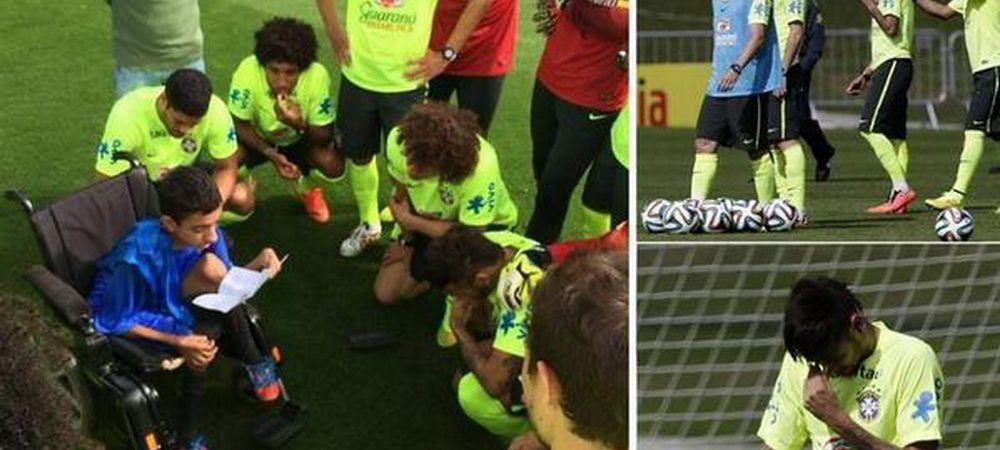 Un copil cu handicap le-a topit inimile jucatorilor brazilieni! S-a dat jos din carucior si le-a aratat ce scheme stie! VIDEO
