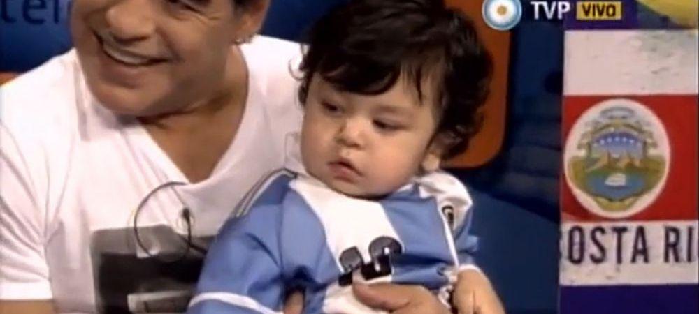 "Maradona si-a prezentat in premiera fiul! L-a imbracat cu tricou cu numarul 10, apoi a surprins: ""Nu vreau sa vorbesc de Messi!"""