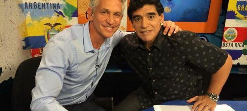 """GENIAL! Maradona si Gary Lineker s-au intalnit la 28 de ani de la """"Mana lui Dumnezeu""""! Ce si-au zis IN DIRECT la TV :)"""