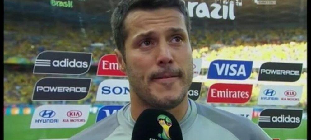 Reactie emotionanta a lui Julio Cesar dupa meciul castigat dramatic de Brazilia! A inceput sa planga in fata camerelor