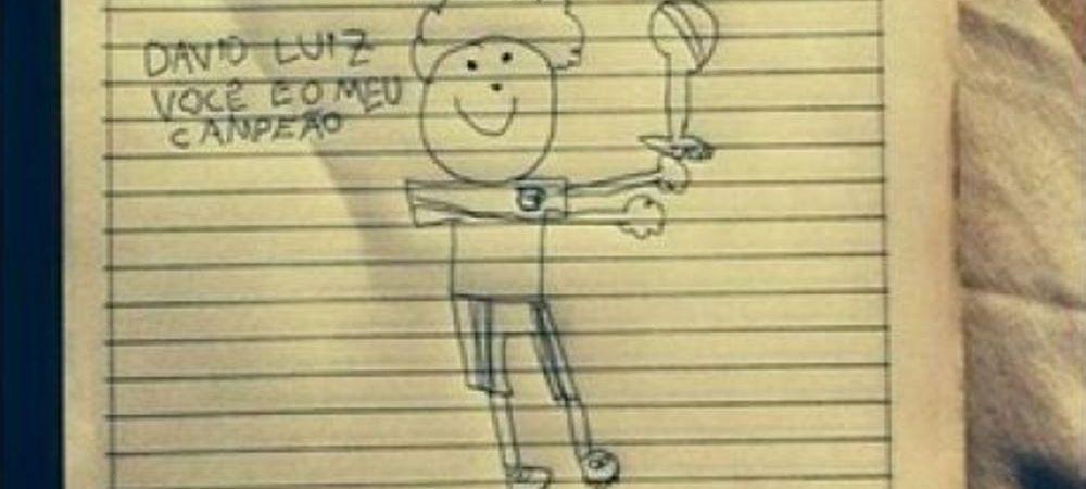 """""""Tu ramai campionul meu!"""" Scrisoarea emotionanta primita de David Luiz de la o fetita de 9 ani dupa umilinta cu Germania"""
