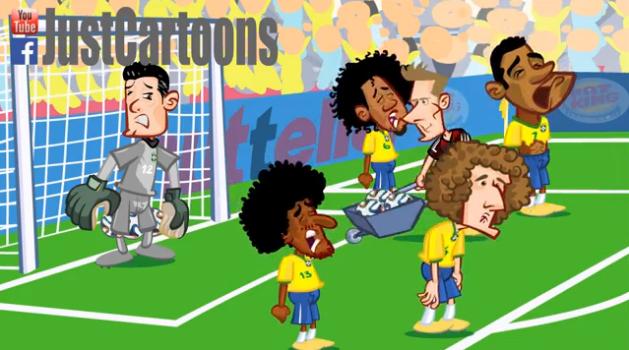 """Campionatul Mondial de pana acum, in 3 minute de desene animate! Nemtii """"cara"""" golurile cu roaba in poarta Braziliei :)) VIDEO"""