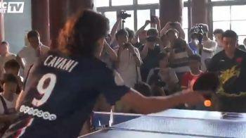 Cavani si Blanc l-au provocat la un meci de ping-pong pe campionul mondial din 2009! Ce a iesit VIDEO