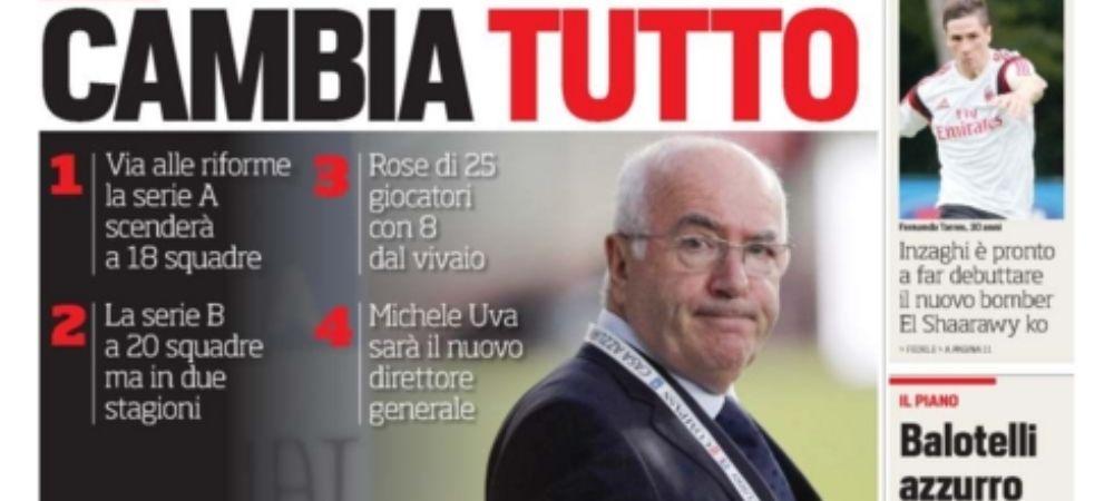 REVOLUTIE IN ITALIA: Serie A se schimba! Cate echipe raman si cati jucatori crescuti in academii vor fi obligate sa aiba in lot