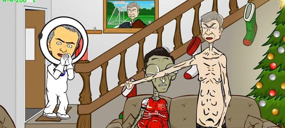 """""""AFARA! Iesi afara!"""" ANIMATIE DE SENZATIE cu Mourinho plecat la colindat. Ce le canta lui Arsenal si Manchester City. VIDEO"""