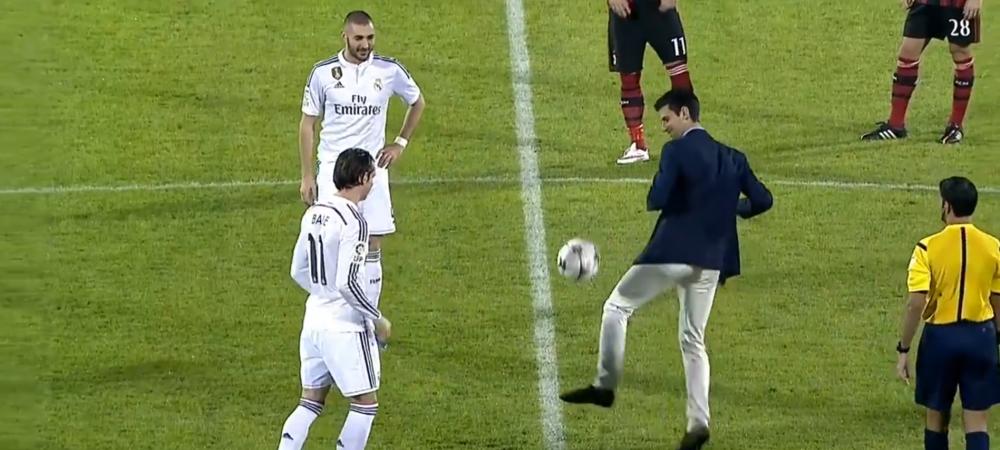 Faza GENIALA la pauza meciului dintre Real si AC Milan! Un invitat-surpriza le-a prezentat jucatorilor skill-ul sau! VIDEO