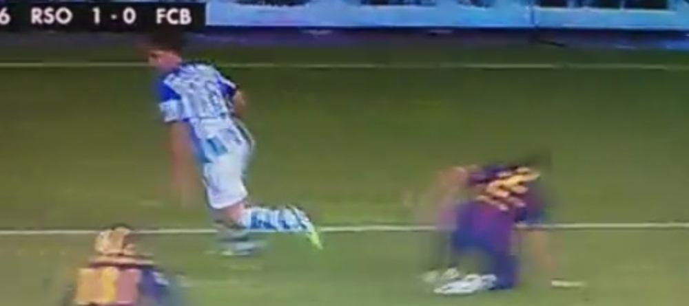 L-a fentat pana a ametit. Jucatorul Barcelonei facut KO de acest dribling in infrangerea cu Real Sociedad. VIDEO