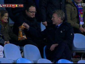 """Hei, do you want some chips?"" David Moyes a oferit faza saptamanii, la meciul dintre Sociedad si Villarreal! Scotianul a fost eliminat, dar s-a simtit bine in tribuna"