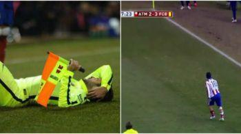 Agresor si agresat! Tusierul de la Barca - Atletico, implicat in doua momente inedite: i-a facut un cucui lui Jordi Alba si a fost atacat cu gheata de Arda