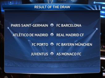 Tragerea la sorti pentru sferturile Champions League! PSG - Barcelona, Atletico - Real Madrid, Porto - Bayern, Juventus - Monaco