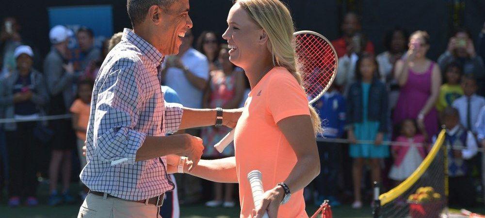 Wozniacki si Obama, meci de vis la Casa Alba! Vezi cum au jucat cei doi tenis pentru o campanie impotriva sedentarismului - VIDEO