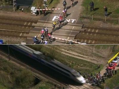 "VIDEO: Moment incredibil in ciclism! Un TGV a aparut din senin in ""Iadul Nordului""! Ce s-a intamplat cu sportivii:"