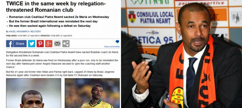 """Demiterea lui Ze Maria face inconjurul lumii! """"Fostul star al Braziliei, concediat de doua ori intr-o saptamana in Romania"""""""
