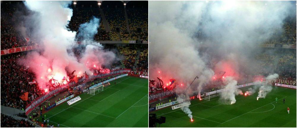 NEBUNIE! Dinamovistii pot fi SUSPENDATI dupa ce au facut la Derby! Ultrasii de la Dinamo au intarziat partida minute bune! FOTO