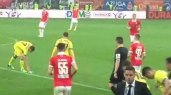 Scena INCREDIBILA cu arbitrul Balaj! Un fan a aruncat cu o sticla spre Adi Popa, Balaj a facut un GEST SOCANT pe National Arena