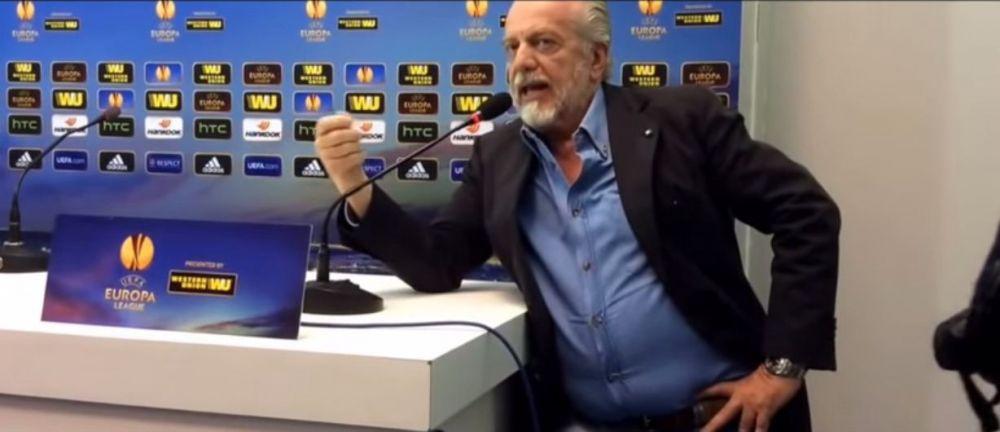 SCENA incredibila in Europa League! Patronul lui Napoli s-a dus la conferinta inaintea antrenorilor! ATAC dur la Platini! VIDEO
