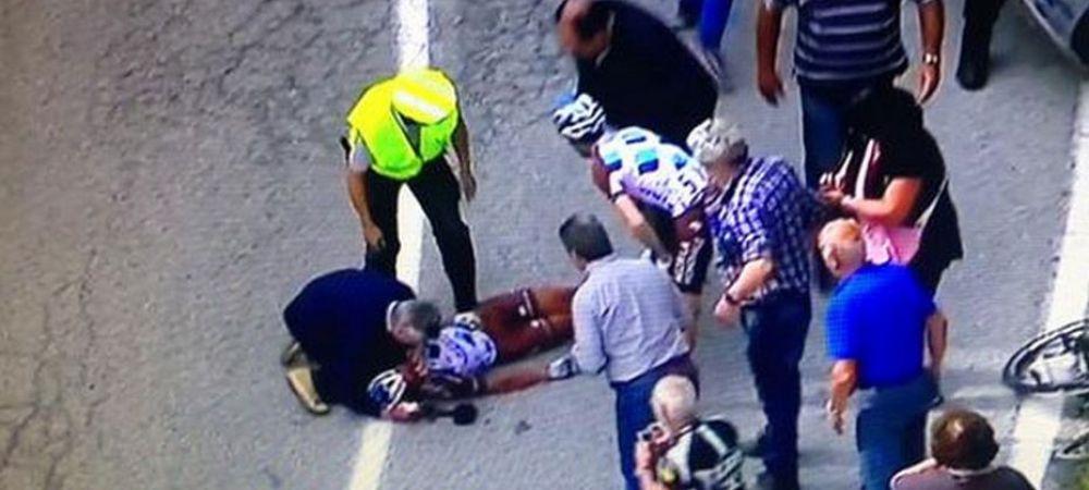 Accident teribil in Turul Italiei! Un ciclist a cazut si s-a lovit cu fata de asfalt dupa o coborare periculoasa! IMAGINI DURE