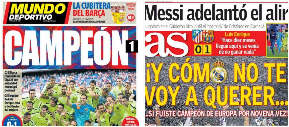 Presa din Spania EXULTA dupa ce Barca a castigat un nou titlu! Ziarul AS a 'uitat' iar de rivala lui Real! :) FOTO