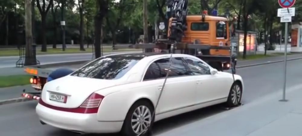 Ce se intampla cand incearca sa ridice un Maybach parcat gresit. Au abandonat imediat actiunea - VIDEO