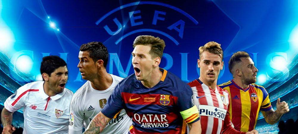 """POKER istoric al Spaniei! Prima tara cu cinci echipe in Champions League! Marca: """"G5! In grupe se vorbeste spaniola"""""""