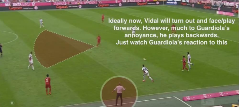 LA VIDAL LOCA! Guardiola a innebunit pe margine la ultimul meci! Cum a reusit Vidal sa-l enerveze cu o singura pasa - VIDEO