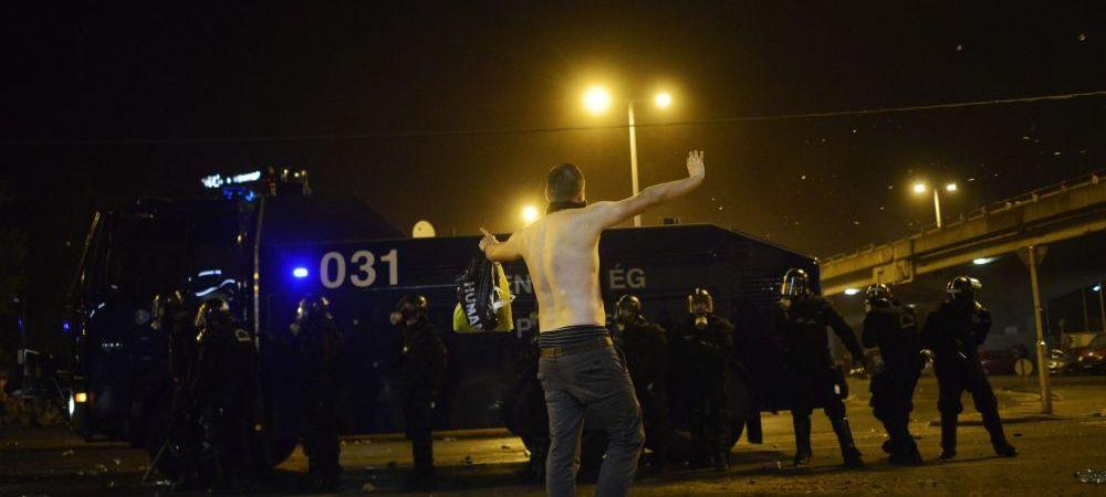 Imaginile VIOLENTELOR dupa Ungaria - Romania. Fanii maghiari s-au batut cu politia pe strazi. FOTO