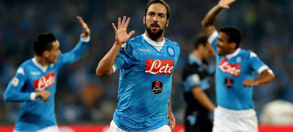 """O palma de goluri   Napoli, la cel de-al doilea 5-0 in doar cateva zile. Echipa lui Chiriches a """"masacrat-o"""" pe Lazio, Radu Stefan a avut cosmaruri cu Higuain"""