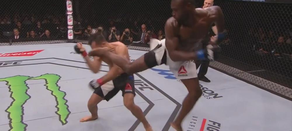 Executie FABULOASA din saritura intr-un meci din UFC! Adversarul nici nu a stiut ce l-a lovit! VIDEO