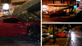 Pe urmele lui Vidal. Un fotbalist de la Juventus s-a imbatat si a facut praf un Ferrari de 250 de mii de euro: FOTO